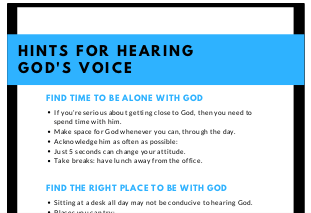 How To Find Quiet Time: Hints To Hear God's Voice
